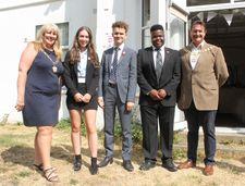 Mayor & Mayoress with Head Girl Ellie May Duhig, Head Boy Louise Albrecht & Head Boy Anu Osho